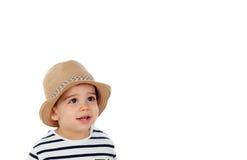 Dziewięć miesięcy stary dziecko z żeglarza spojrzeniem Obrazy Royalty Free