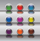 Dziewięć pchnięcie guzika ikon Obrazy Stock