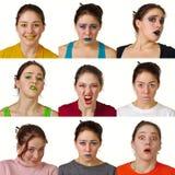 Dziewięć pożytecznie barwionych wyrazów twarzy Zdjęcie Stock