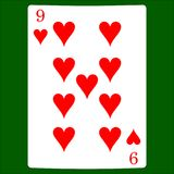 dziewięć serca Karciany kostium ikony wektor, karta do gry symbole wektorowi Zdjęcie Stock
