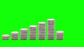 Dziewięć stert monet wzrastać Zatrzymuje ruch Chroma klucz zbiory