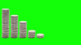 Dziewięć stert monety które iść puszek, wzrastają znowu i zestrzelają, - Zatrzymują ruch - Chroma klucz royalty ilustracja