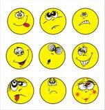 dziewięć ustalonych smileys Zdjęcie Stock