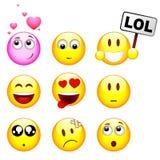 dziewięć ustalonych smileys Fotografia Royalty Free