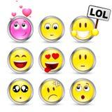 dziewięć ustalonych smileys Zdjęcia Royalty Free