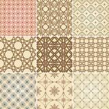 dziewięć wzorów bezszwowy set Zdjęcia Stock
