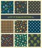 dziewięć wzorów bezszwowy set bezszwowy wzoru Royalty Ilustracja