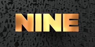 Dziewięć - Złocisty tekst na czarnym tle - 3D odpłacający się królewskość bezpłatny akcyjny obrazek ilustracja wektor