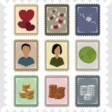 Dziewięć znaczków Fotografia Royalty Free