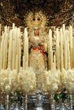 Dziewica nadzieja w okręgu Triana, Święty tydzień w Seville, Andalusia, Hiszpania Zdjęcia Royalty Free
