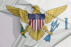 Dziewiczych wysp tkaniny flaga zagniecenie z biel przestrzenią i krepa obrazy royalty free