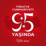 Dziewiećdziesiąt kwinta roku Turecka republika z Indyczą mapą fotografia stock