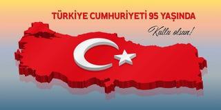 Dziewiećdziesiąt kwinty świętowania Turecka republika nad 3D Turcja ma ilustracja wektor