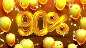 Dziewiećdziesiąt procentu Lub 90 korzyści oferty sprzedaży wektor ilustracji