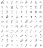 Dziewiećdziesiąt ręka rysującej jedzenia i kitchenware ikony Obrazy Stock