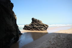 Dzika plaża w Portugalia Obrazy Royalty Free