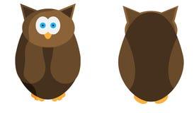 Dzika sowa w dwa projekcjach Zwierzę dla twój projekta również zwrócić corel ilustracji wektora ilustracji