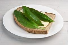 Dziki czosnek opuszcza na sourdough chlebie (niedźwiedzia czosnek) Zdjęcia Stock