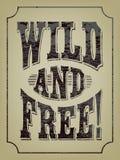 Dziki i bezpłatny! Textured literowanie ilustracji