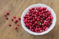 Dziki i dojrzały cranberry w bielu talerzu na brown drewnianym tle Zdjęcia Royalty Free