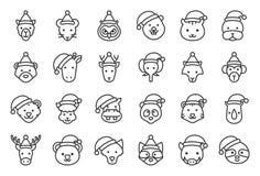 Dziki i lasowy zwierzęcy jest ubranym boże narodzenie kapeluszowej ikony editable kontur royalty ilustracja