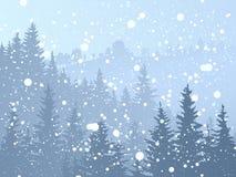 Dziki iglasty śnieżny las. Royalty Ilustracja