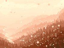 Dziki iglasty drewno w ranku śniegu. Ilustracja Wektor