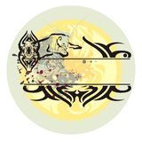 Dziki kot w skoku i powstającym słońcu Fotografia Royalty Free