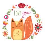 Dziki lis i kwiecista ilustracja Obrazy Royalty Free