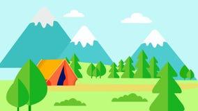 Dziki natura odpoczynek, Campingowa Płaska Wektorowa ilustracja royalty ilustracja