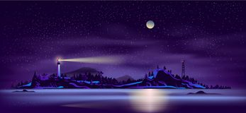 Dziki północny wyspy linii brzegowej kreskówki wektor ilustracja wektor