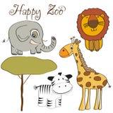dziki setu zwierzęcy śliczny ilustracyjny wektor Zdjęcia Royalty Free