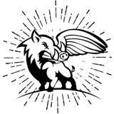 Dziki wieprz lub knur z skrzydłowym logem ilustracji
