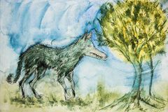 Dziki wilk w lesie Obraz Royalty Free