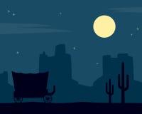 Dziki Zachodni nocy tło Zdjęcie Stock