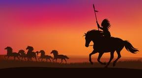 Dziki zachodni preryjny zmierzchu krajobraz ilustracja wektor