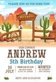 Dziki zachodni przyjęcia urodzinowego zaproszenia projekta szablon Zachodni plakatowy pojęcie dla zaproszeń, kartek z pozdrowi ilustracja wektor