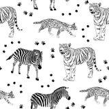 Dzikich żyć zwierząt bezszwowy wzór Fotografia Stock