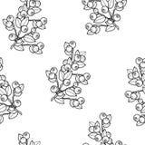 Dzikich czarnych jagod bezszwowy tło, czarny i biały okresowy wzór Fotografia Royalty Free