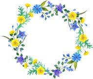 Dzikich kwiatów akwareli składy Wreaf rama royalty ilustracja