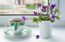 Dzikich kwiatów pansies i filiżanka kawy na windowsill w dżdżystej pogodzie Obraz Royalty Free