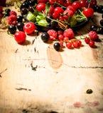 Dzikie jagody w starym talerzu głębii pola płycizny stół drewniany Zdjęcie Stock