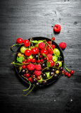 Dzikie jagody w starym talerzu kurczak na czarnym drewnianym tle Obrazy Royalty Free
