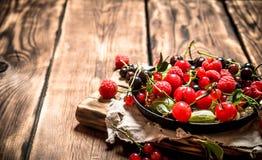 Dzikie jagody w starym talerzu na desce Zdjęcie Royalty Free