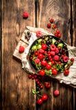 Dzikie jagody w starym talerzu na desce Obrazy Royalty Free