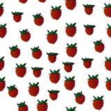Dzikie truskawki, wektorowe owoc, bezszwowy tło Fotografia Stock
