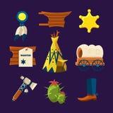 Dzikie Zachodnie Kowbojskie Płaskie ikony Zdjęcia Royalty Free