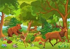 Dzikie zwierzęta bawić się i biega przez lasu royalty ilustracja