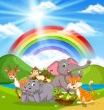 Dzikie zwierzęta w naturze ilustracji