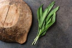 Dzikiego czosnku liście z drewnianym pucharem na popielatym kamiennym tle, zdrowy styl życia, sezonowy wiosny ziele dla kuchni, a Fotografia Stock